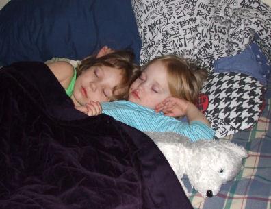 Emma and Lauren sleeping