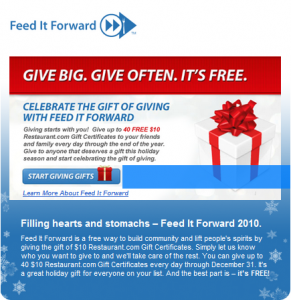 Feed It Forward with Restaurant.com!