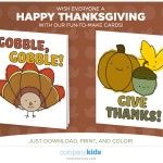 Free Downloadable Thanksgiving Cards for Kids