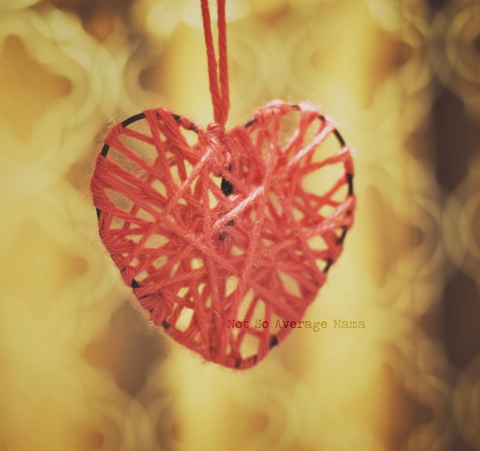 hanging yarn hearts