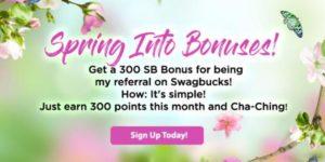 Get 300 bonus SB when you sign up for Swagbucks in June
