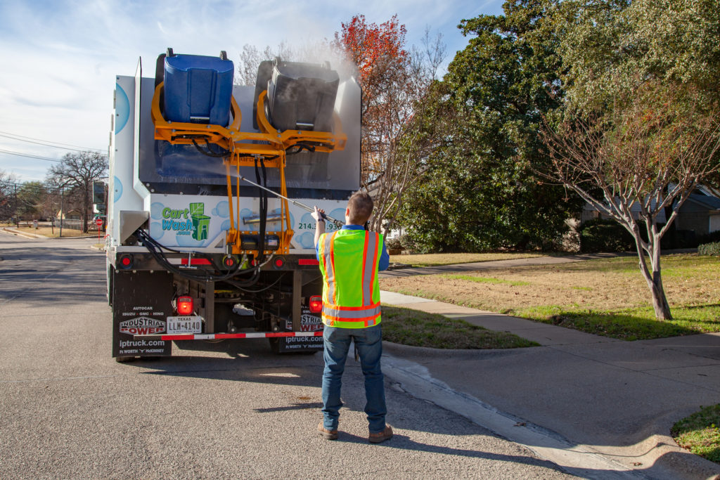 CartWash Truck cleaning Trash adn Recycle Carts